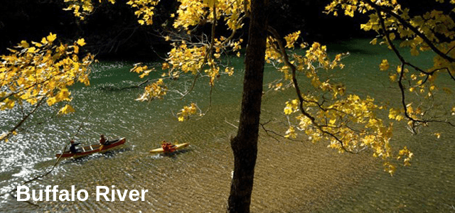 Autumntime - Two kayaks float the Buffalo River as the leaves turn to gold