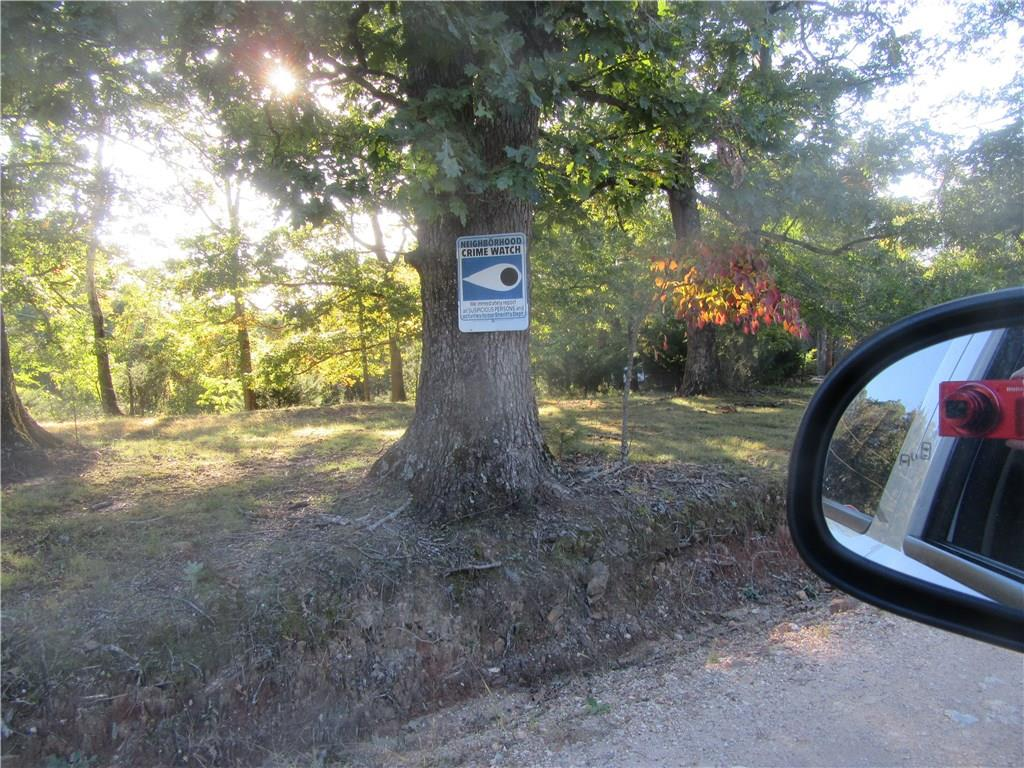 Neighborhood Watch sign on large oak tree on other side of county road. A safe place to build in the country.